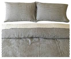 dark navy and white striped duvet cover set handmade natural