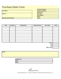 Excel Order Sheet Template Blank Purchase Order Form Template Excel Pdf Rtf