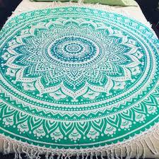 green ombre round beach towel picnic blanket yoga mat roundie