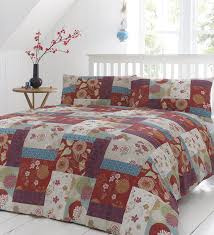 oriental patchwork u0027 double duvet cover set in spice includes 1x