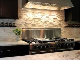 interior elegant travertine backsplash in kitchen