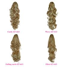 Clip In Blonde Hair Extensions by Ponytail Clip In Hairpiece Strawberry Blonde Mix 27 613