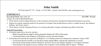 Examples On How To Write A Resume by Investment Banking Resume Street Of Walls