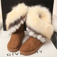 womens ugg boots fox fur fur boots winter warm shoes flock leather