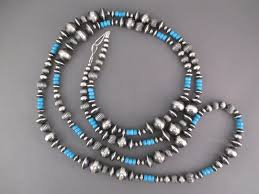 sterling silver beaded necklace images Oxidized sterling silver turquoise necklace navajo jewelry jpg