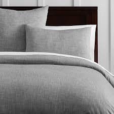 Gray White Duvet Cover Organic Solid Texture Duvet Cover Sham Pbteen