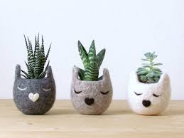 face planters set of 3 planters succulent planters christmas gift 7 year