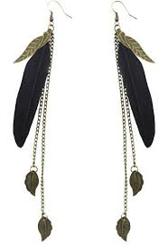 black feather earrings f1932 fashion black feather bronze leaf chain light dangle