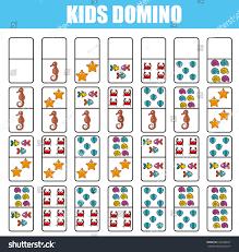 domino kids children educational game printable stock vector