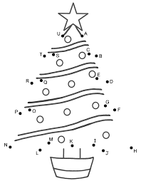 christmas tree connect the dots by capital letters christmas