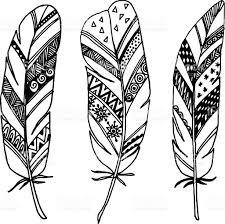 set of ornamental feathers line vectors stock