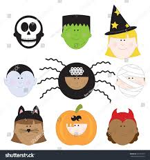 halloween kids cartoons halloween kids clip art set children stock vector 221991679