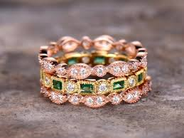 gemstone wedding rings images 3pc emerald wedding ring set full eternity ring 925 sterling jpg