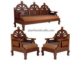 Simple Indian Wooden Sofa Carving Circular Rajasthani Traditional Teak Wood Sofa Set
