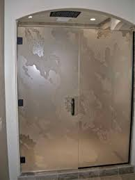 Custom Glass Doors For Showers by Custom Shower Glass With Abstract Etched Design Sans Soucie Art