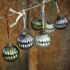 3 antique mercury glass baubles zanti by nkuku