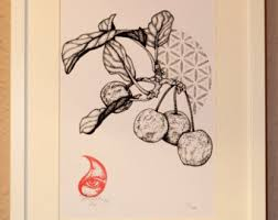 flower of life leaf stippling hand pulled edition of 20 a4
