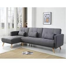 canapé relaxima delamaison canapé d angle convertible tissu gris chiné nathael