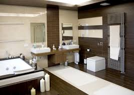 mid century modern bathroom vanity with two mirrors and bathroom
