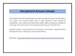 Sample Of Resume For Receptionist by Receptionist Resume Sample Pdf