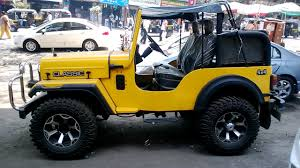 jeep modified amazing mahindra classic jeep 4x4 modified in yellow color