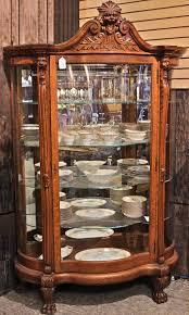 Curio Cabinets Ebay Antique Quartersawn Oak Leaded Beveled Curved Glass Lionhead China