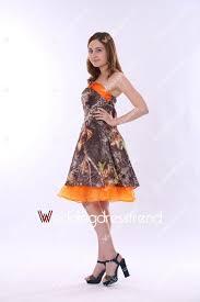 cheap beautiful a line knee length orange and camo bridesmaid