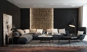 wohnideen f rs wohnzimmer texturierte schwarze wände mit indirekter wandbeleuchtung für
