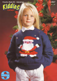 sirdar children u0027s father christmas motif sweater knitting pattern