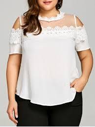 see thru blouse white xl plus size see thru cold shoulder blouse rosegal com