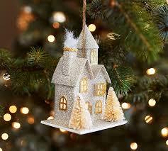 lit glitter house ornament silver pottery barn