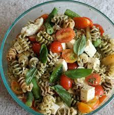 pasta salad with pesto ricotta salata and cherry tomatoes