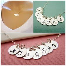 Personalized Sterling Silver Necklace Seven Initial Disc Personalized Sterling Silver Necklace