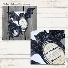 valerie pullam designs halloween party invitation bat shape