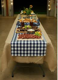 rustic barn wedding rehearsal bbq burlap tablecloth gingham and