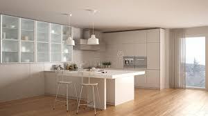 fourniture de cuisine cuisine blanche minimale classique avec le plancher de parquet