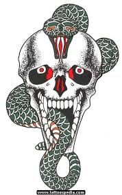 snake and skull tattoo design