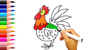 learning how to draw chicken coloring for kids with colored