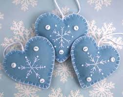 felt ornaments handmade blue and white snowflake