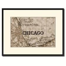Home Decor Chicago Chicago Illinois Vintage Sepia Map Home Decor Wall Art Bedroom