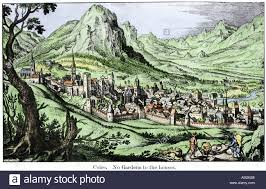 Swiss Alps Map Medieval Walled Town Of Coire Or Chur In The Swiss Alps Stock