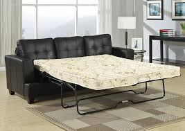 amazing modern black leather sectional w pull out sofa bed for