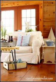 White Slipcover Sofa by Living Room With White Slipcovered Furniture Creative Cain Cabin