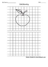 apple drawing grid activity sheet kindergarten worksheets for