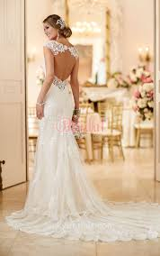 lace mermaid wedding dress open back neck allover lace stylish mermaid wedding