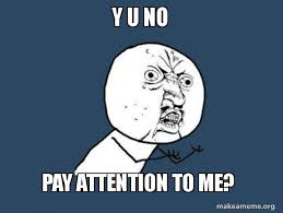 Pay Attention To Me Meme - y u no pay attention to me y u no make a meme
