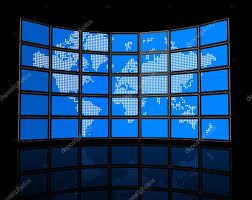 World Map Flat by Video Wall Of Flat Tv Screens With World Map U2014 Stock Photo