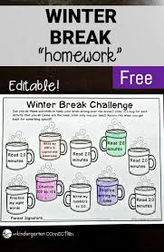 free printable winter break homework editable