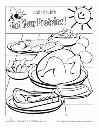 healthy eating coloring page meat and beans worksheets