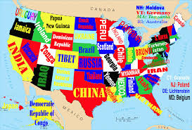 state map this map shows the united states if each state were named for the